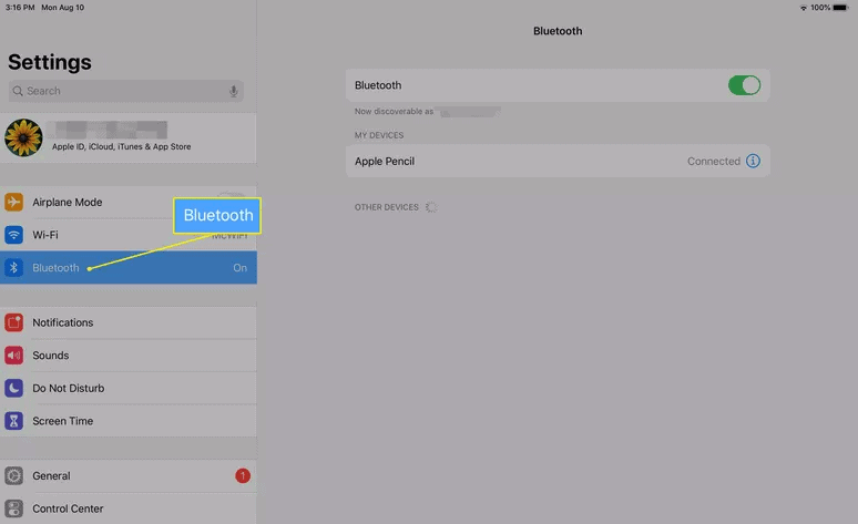 apple pencil 2 connected but not working