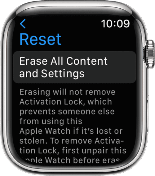 how to reset apple watch without apple id